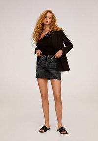 Mango - MONICA - A-line skirt - black denim - 1