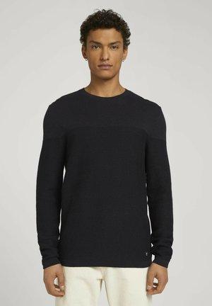 Collegepaita - navy black mouline