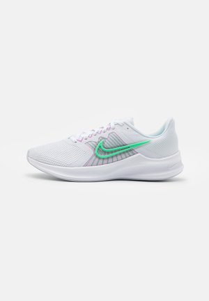DOWNSHIFTER 11 - Neutral running shoes - white/green glow/infinite lilac/violet shock/football grey
