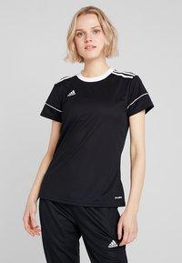 adidas Performance - CLIMALITE PRIMEGREEN JERSEY SHORT SLEEVE - T-shirt med print - black/white - 0