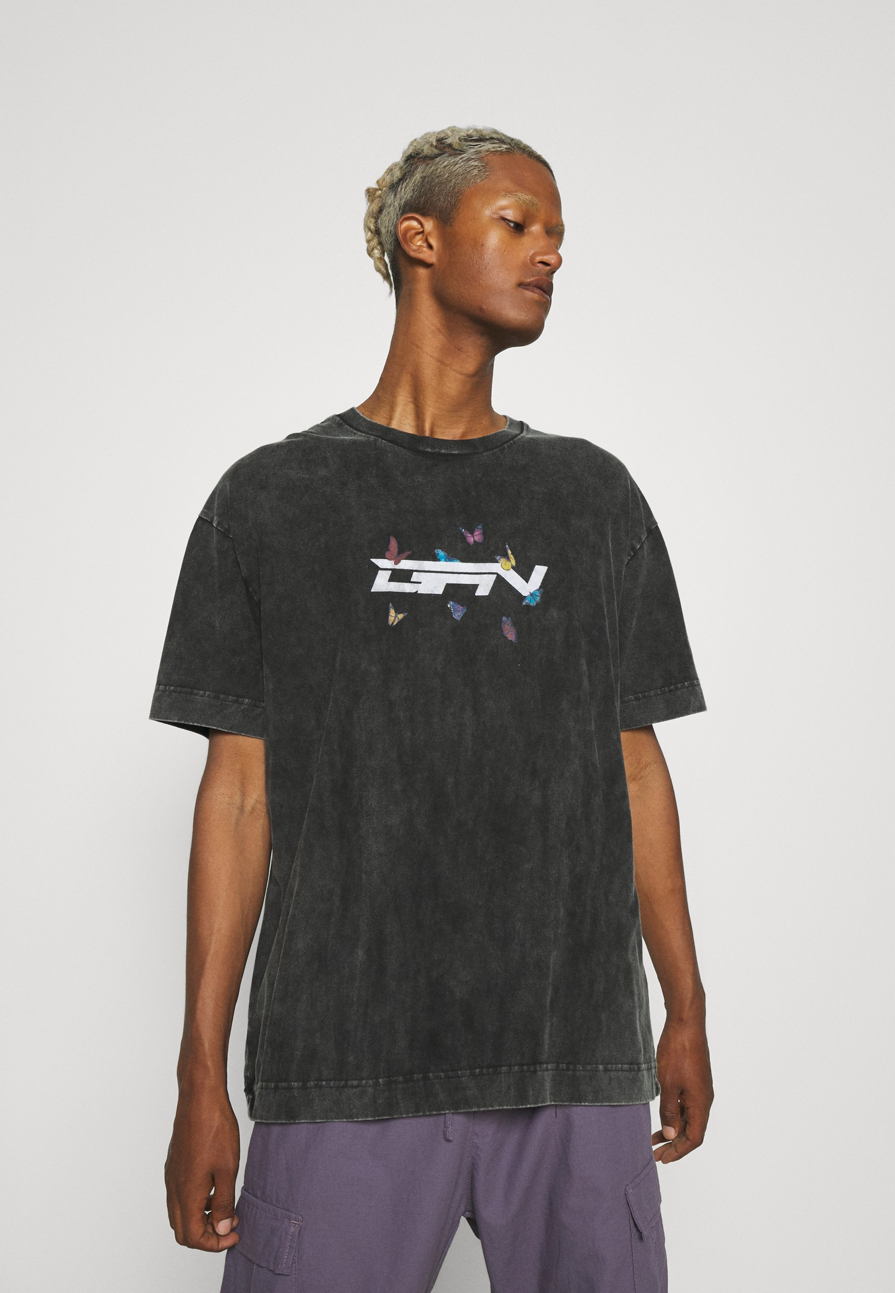 Uomo GREY ACID WASH BUTTERFLY - T-shirt con stampa