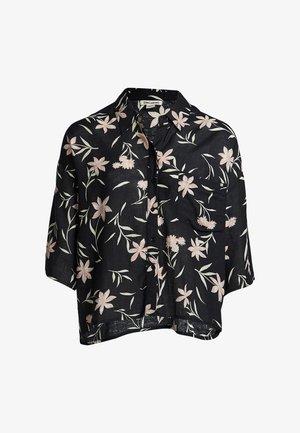 MIT KNOPFLEISTE - Button-down blouse - black