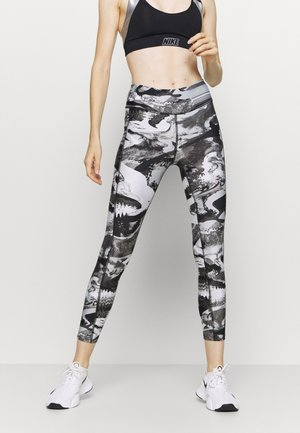 PRINT ANKLE CROP - Collant - black