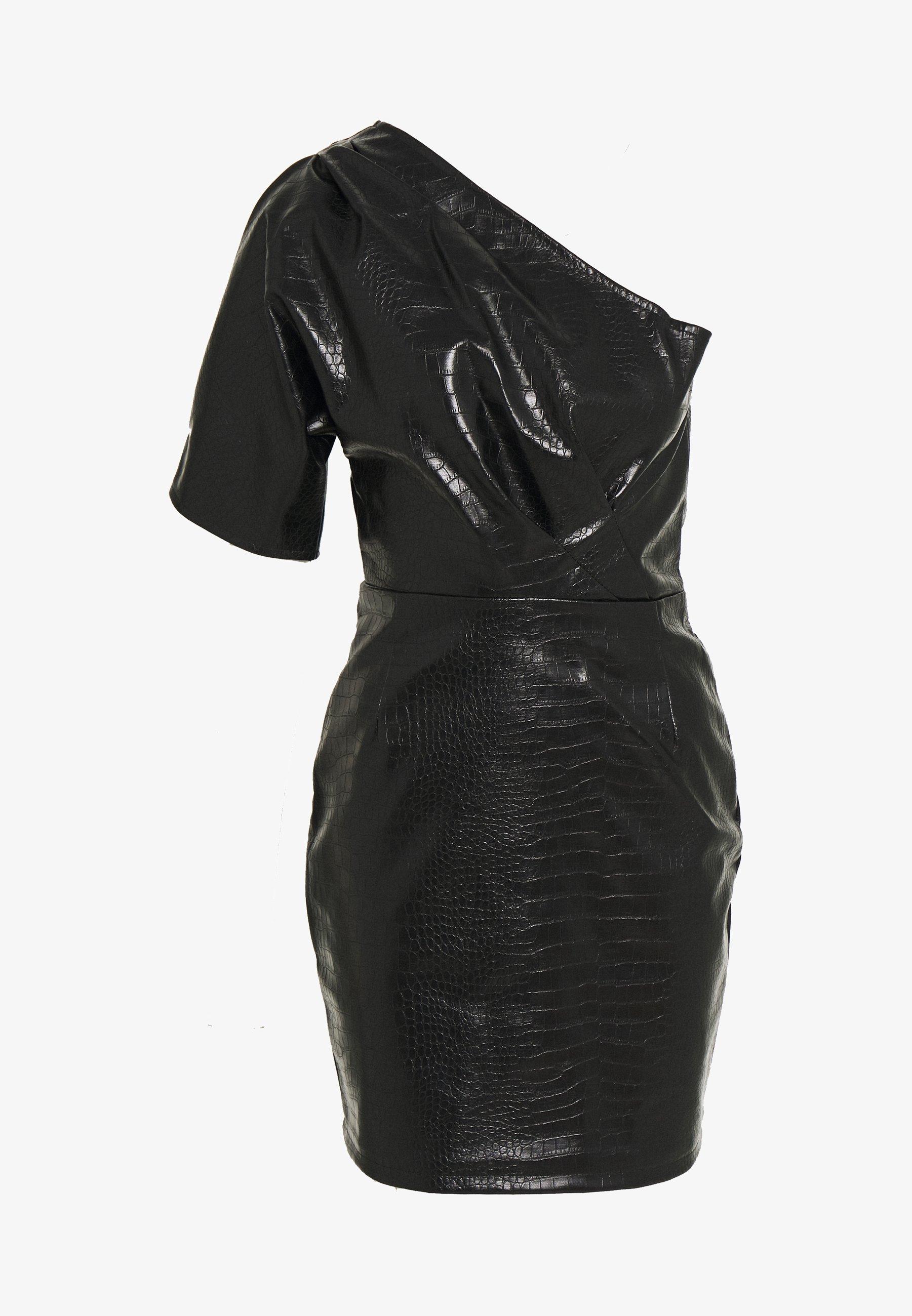 hanna schönberg x na-kd one shoulder dress - cocktailkleid/festliches kleid  - black