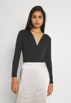 KYLIE CROSS FRONT - Long sleeved top - black