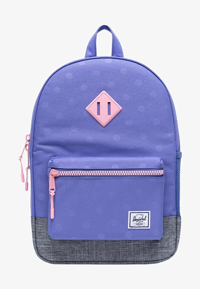 School bag - dusted peri heat press polka/raven crosshatch