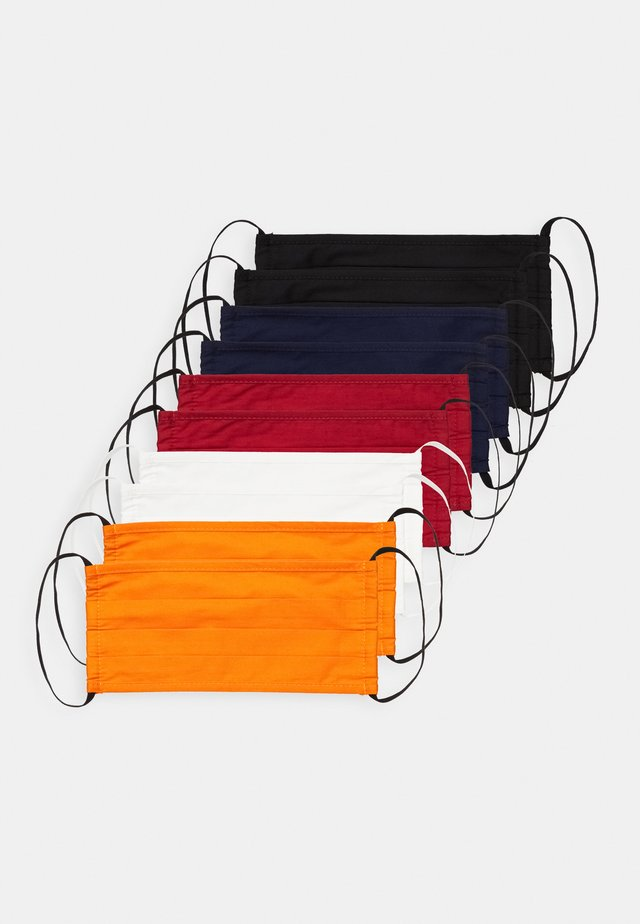 10 PACK - Stoffen mondkapje - white/orange /dark red