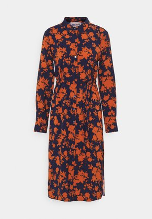 Shirt dress - dark blue/orange