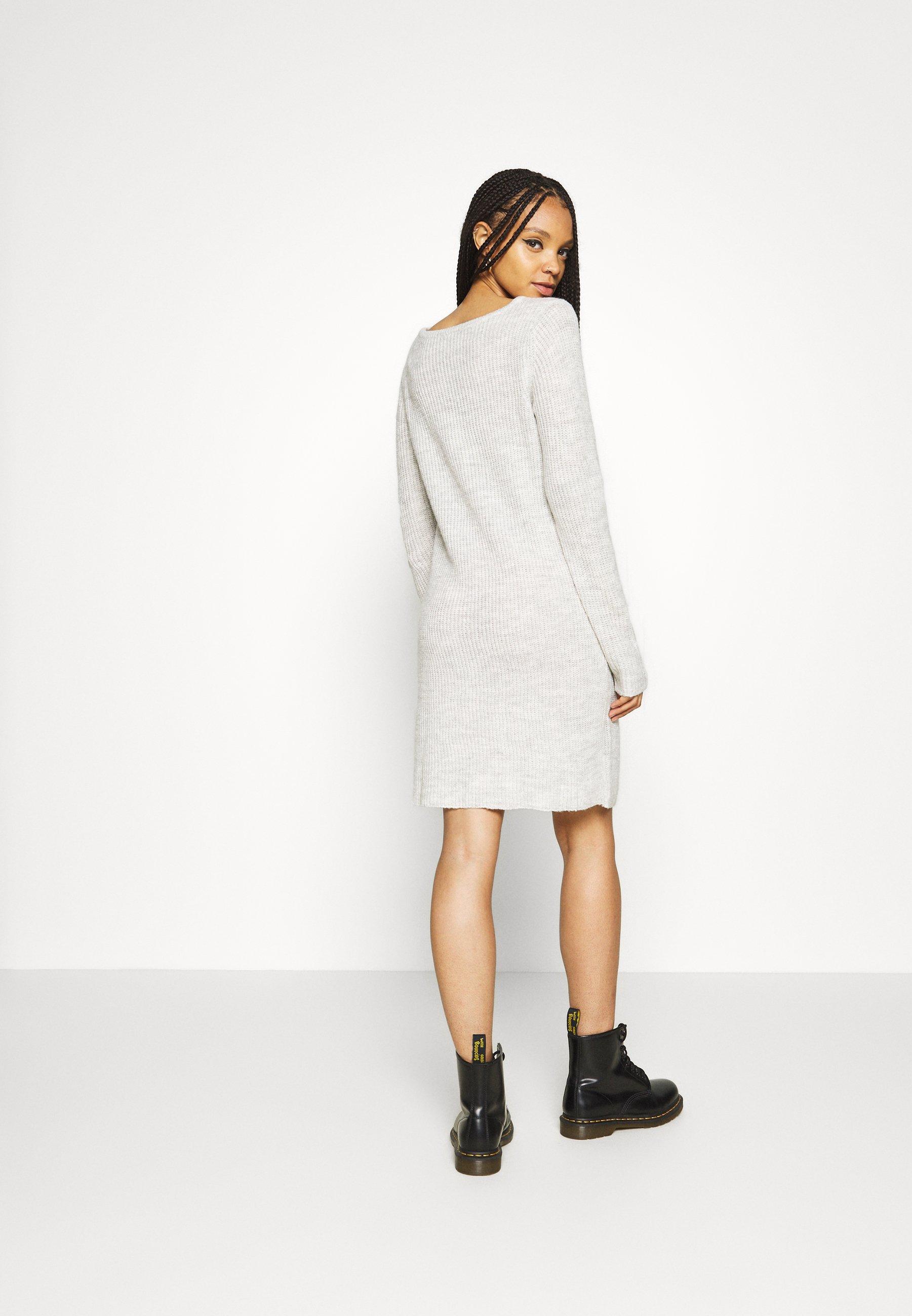 Vila VISURIL ONECK DRESS Strickkleid super light grey melange/hellgraumeliert