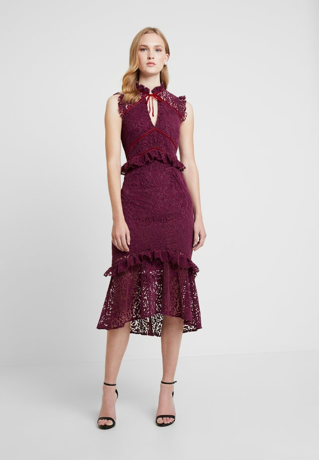 PEPLUM DRESS WITH TRIMS - Cocktail dress / Party dress - burgundy