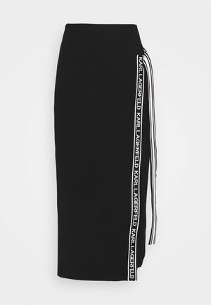 LOGO TAPE WRAP SKIRT - Pencil skirt - black