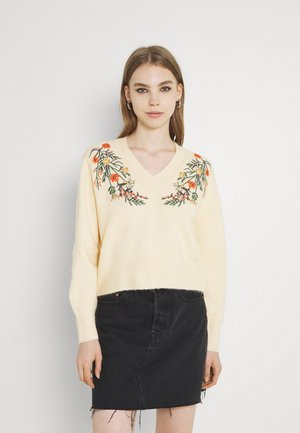 PCFLOWER V NECK EMBROIDERY - Trui - flower embroidery