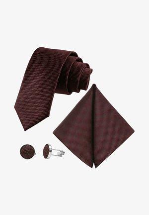 3 SET - MORENO CRAVATTA  - Pocket square - schwarz  weinrot bordeaux rot tupfen