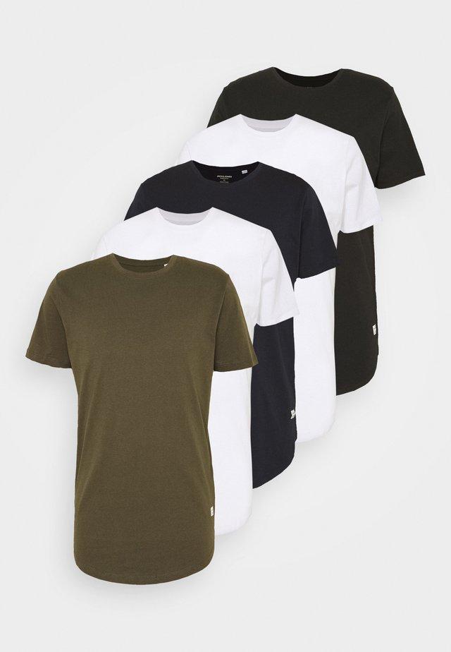 JJENOA TEE CREW NECK 5 PACK - T-shirts basic - white/black/dark blue