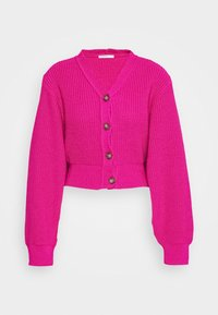 CROPPED WITH LOW V NECK AND PUFF LONG SLEEVES - Cardigan - fuschia