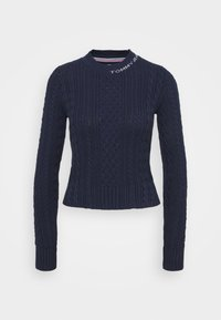 Tommy Jeans - BRANDED NECK CABLE - Pullover - twilight navy - 5