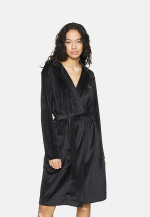 SHINY DRESSING GOWN - Dressing gown - nero/black