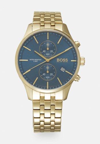 ASSOCIATE - Chronograph watch - gold-coloured/blue