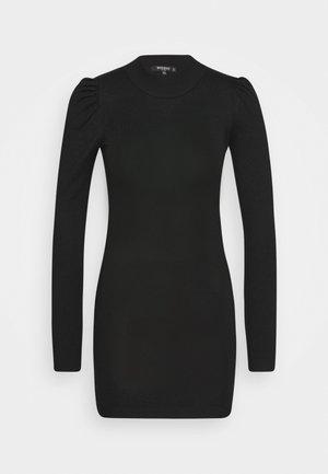 PUFF SLEEVE MINI DRESS - Pouzdrové šaty - black