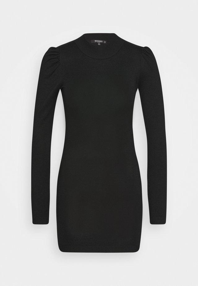 PUFF SLEEVE MINI DRESS - Shift dress - black