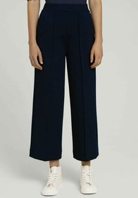 TOM TAILOR DENIM - RELAXED CULOTTE MIT RECYCELTEM - Trousers - dark blue - 0
