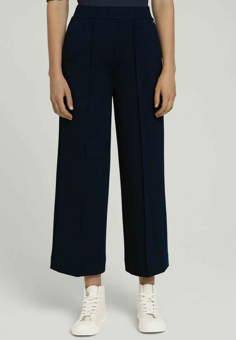 TOM TAILOR DENIM - RELAXED CULOTTE MIT RECYCELTEM - Trousers - dark blue