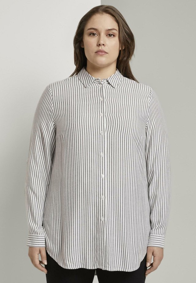 Button-down blouse - offwhite charcoal stripe