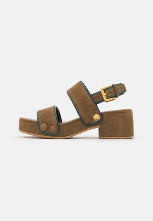GALY - Platform sandals - medium brown