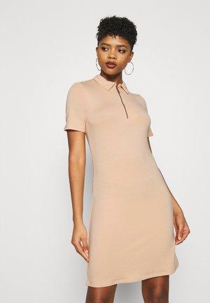 ZIP COLLAR MINI DRESS - Day dress - beige
