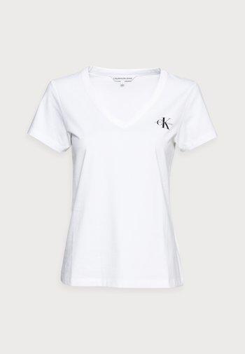 MONOGRAM SLIM V-NECK TEE - T-shirts - white