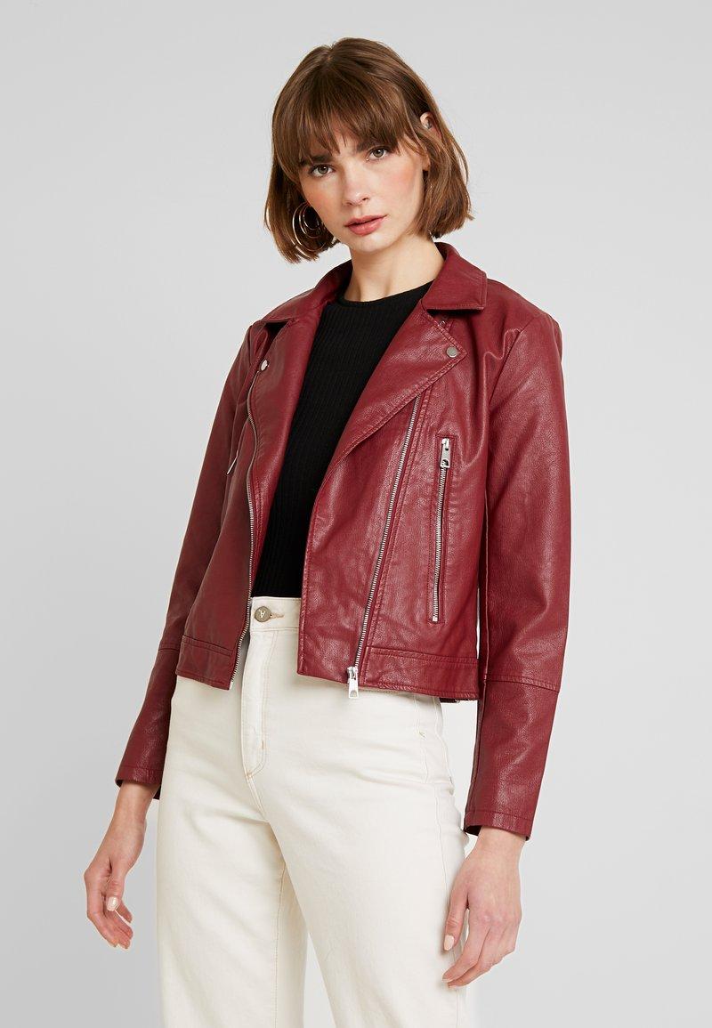 JDY - YONG JACQUELINE - Faux leather jacket - pomegranate