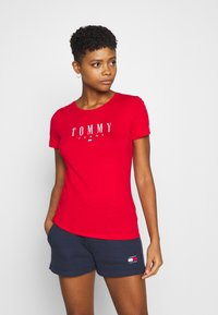 Tommy Jeans - ESSENTIAL LOGO TEE - Print T-shirt - deep crimson - 0