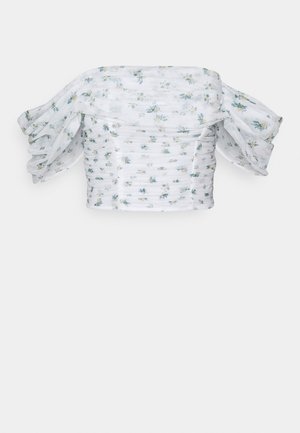 FLORAL RUCHED BARDOT CROP  - Blouse - white