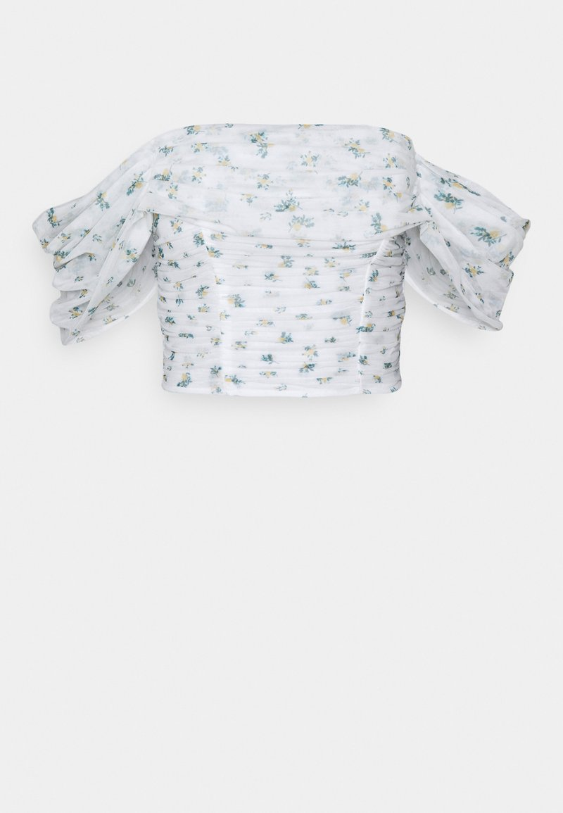 Missguided Petite - FLORAL RUCHED BARDOT CROP  - Bluzka - white