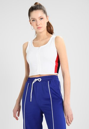 LADIES SIDE STRIPE CROPPED ZIP  - Top - white/firered/navy