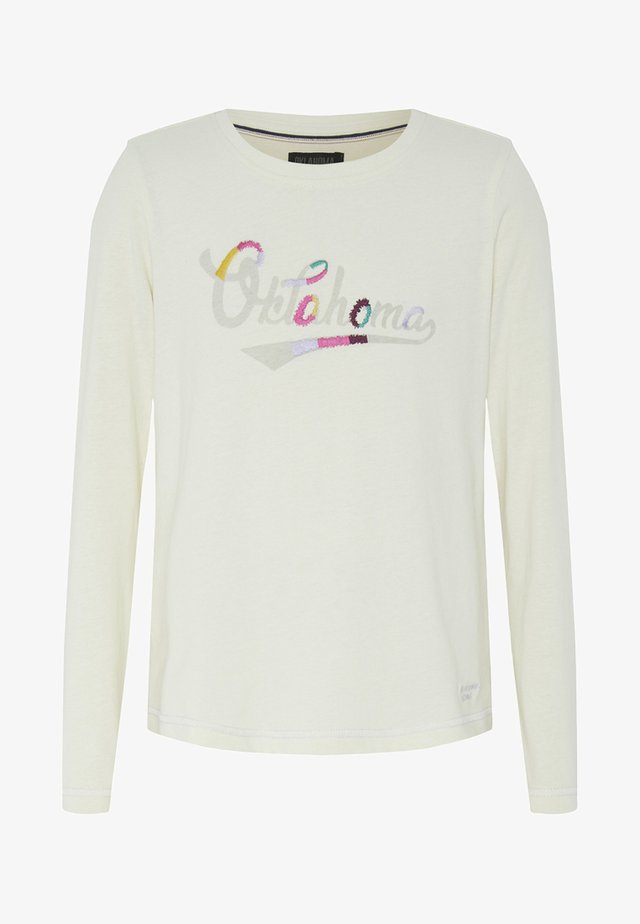 MIT KONSTRASTFARBENEN NÄHTEN  - Long sleeved top - white