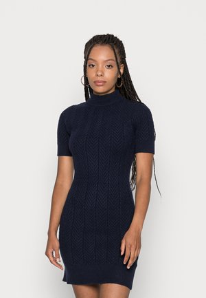 ETHAL MOCK NECK SHORT SLEEVE DRESS - Jumper dress - navy