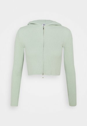 HOODED FLUFF ZIP UP - Cardigan - sage