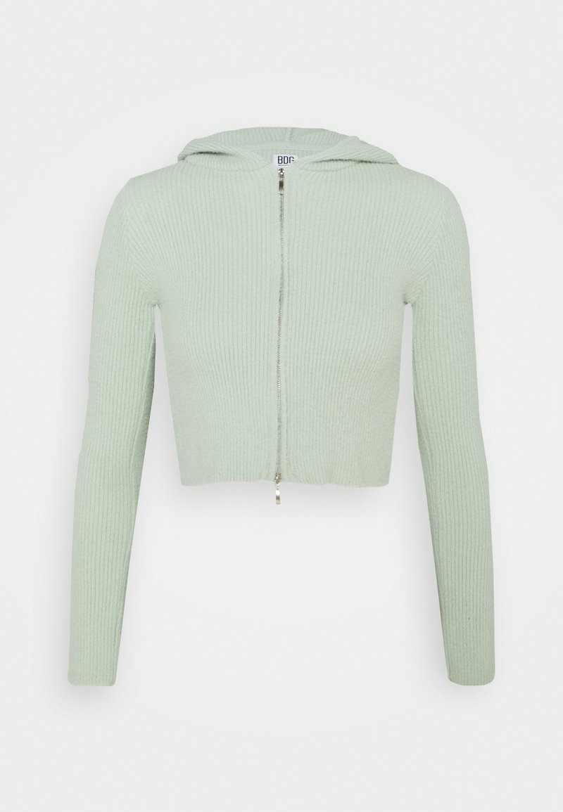BDG Urban Outfitters - HOODED FLUFF ZIP UP - Cardigan - sage