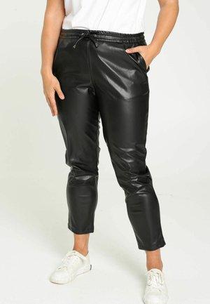 SIMILI  UNI - Leather trousers - black