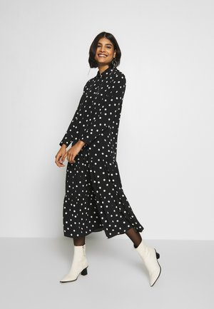 SMOCK PEPLUM DRESS - Shirt dress - black