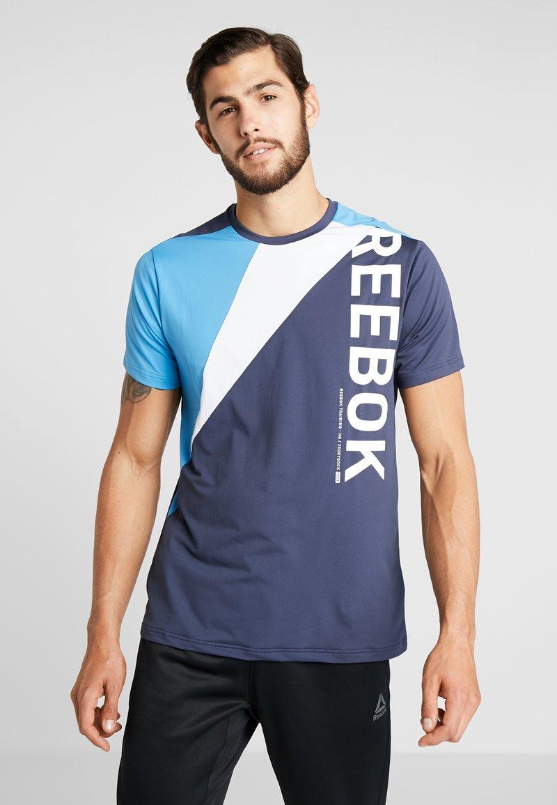 Reebok - OST BLOCKED TEE - T-shirt z nadrukiem - dark blue