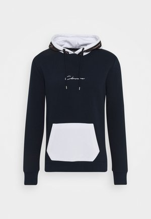 CONTRAST HOOD WITH TAPING - Sweat à capuche - navy