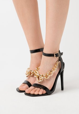 LARGE CHAIN - High heeled sandals - black