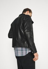Selected Homme - SLHICONIC BLOUSON  - Leather jacket - black - 4