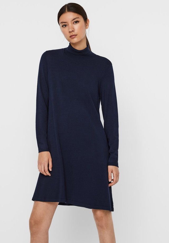 VMGLORY LS ROLLNECK DRESS COLOR - Jumper dress - navy blazer
