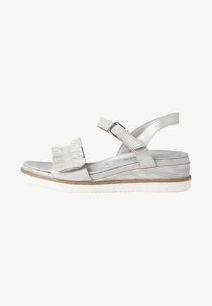 Wedge sandals - silver pearl