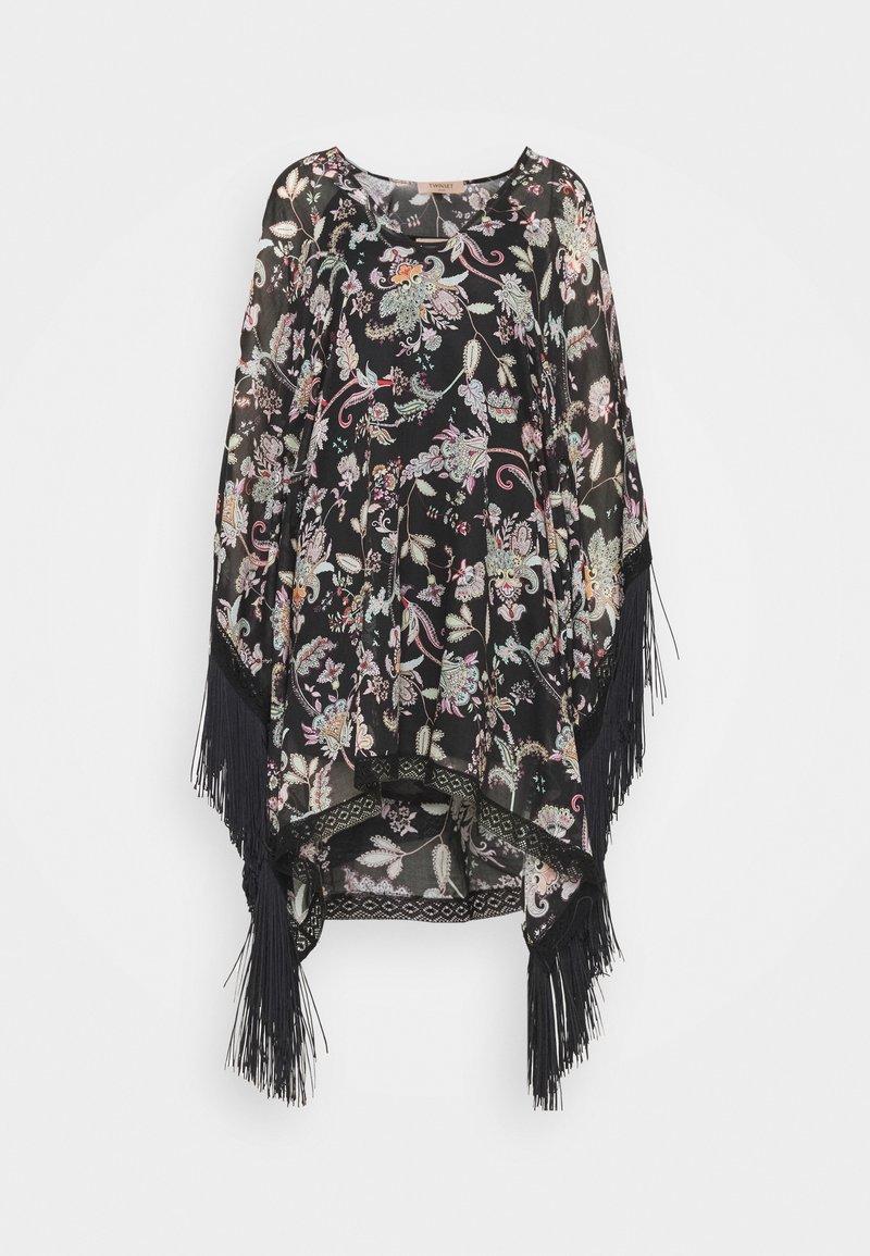 TWINSET - KAFTANO IN TESSUTO CON FRANGE SOTTOVESTE - Day dress - nero
