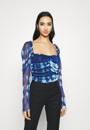 RUCHED FRONT MILKMAID TIE DYE PRINT - Long sleeved top - blue