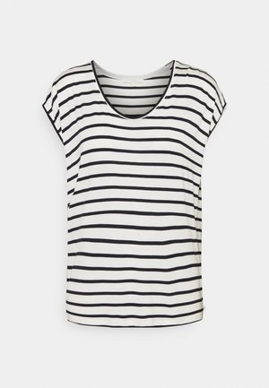 STRIPED RELAXED TEE - Triko s potiskem - navy/white